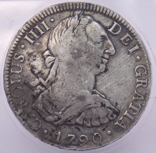 1790 Mexico 8 Reales Carolus Iiii Silver Coin W/ Chop Marks (4163) photo