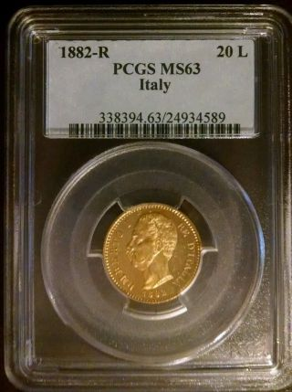 1882 - R Italy Gold 20 - Pcgs Ms63 photo