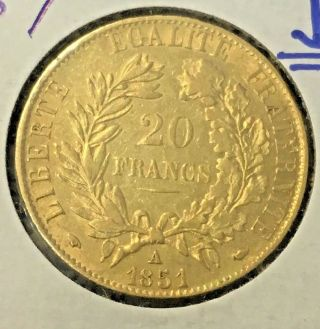 1851 - A France 20 Fr Francs Gold Coin Uncirculated (bu) French Gold Coin photo