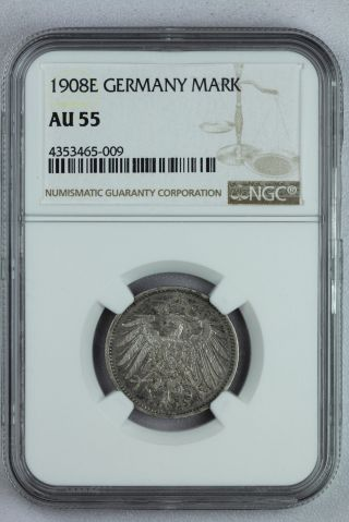 1908e Germany Mark Ngc Graded Au55 Silver Deutsches Reich Coin Rare photo
