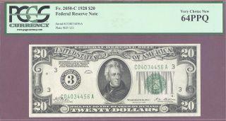 3 1928 $20 Frn Philadelphia Pa Pcgs 64 Ppq Vc F 2050 - C Tate - Mellon photo