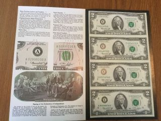 Series 1976 Sheet Of 4 Uncut/uncirculated $2 Dollar Bills photo