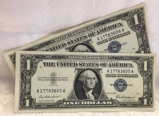 (2) 1957 $1 One Dollar Silver Certificates Blue Seal Note photo