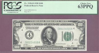 4 1928 $100 Frn Cleveland Ohio Pcgs 63 Ppq Choice F : 2150 - D Woods - Mellon photo