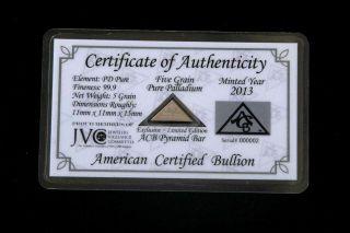 Acb Palladium Pyramid 99.  9 Pure 5grains Bullion Pd Bar Very Rare/ -. photo