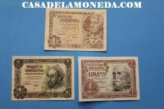 1948 1951 1953 1 Peseta Banknote Madrid EspaÑa Spain Spanihs 3 Billetes photo