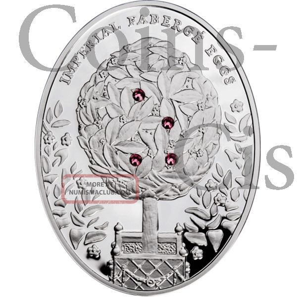 Niue 2012 $2 Imperial Fabergé Eggs Bay Tree Egg 56.56g Silver Proof Coin