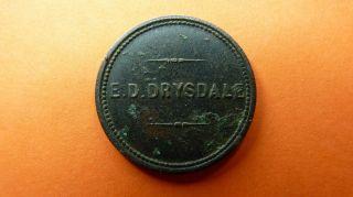South - Africa/afrique/afrika Token/jeton/ficha - E.  D.  Drysdale 6d Very Rare photo