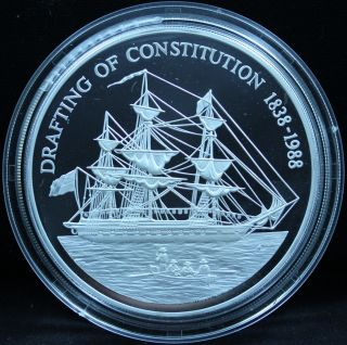 1988 Pitcairn Islands 150th Ann.  Of The Constitution $50 Silver Proof - 5oz.  999 photo