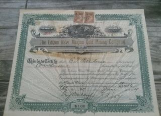 The Edison Mexico Gold Mining Co.  Stock 1899 1000 Shares Vignette photo