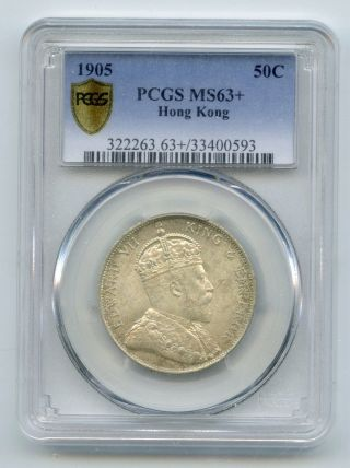 Weeda Hong Kong 1905 Silver 50c,  Pcgs Ms63,  Rare State Coin With Lustre photo