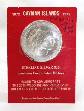 Cayman Islands 1972 Silver Coin 25th Anniv Queen Elizabeth Ii & Prince Philip photo