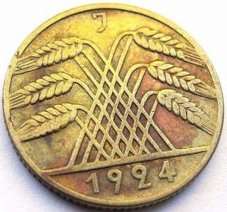Germany 1924 - J 10 Rentenpfennig German Weimar Brass Coin (rl 261) photo