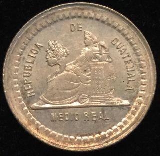 1880 1/2 Real Guatemala Silver photo