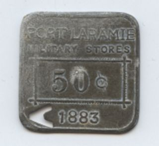 Us Fort Laramie Wy 1883 Military Store Token,  Zinc photo