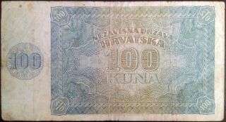 Independent State Of Croatia - 100 Kuna - 1941 - Ustasa Nazi Regime Ante Pavelic photo