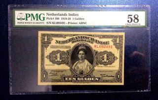 Netherlands Indies 1 Gulden 1919 - 1920 Munbiljet Rare Pmg 58 photo
