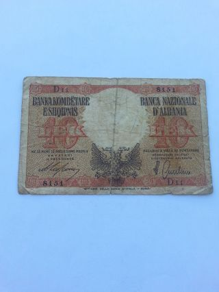 Albania Banknote 10 Lek 1939 photo