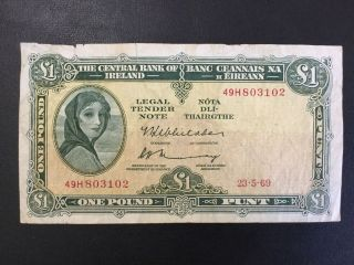 1969 Ireland Paper Money - One Pound Banknote photo
