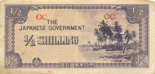 Oceania 1/2 Shilling Nd.  1942 P 1a Wwii Issue Circulated Banknote Wm9 photo