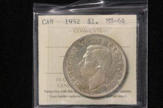 1952 Canada.  1$ Dollar.  Voyageur.  Nwl.  Iccs Graded Ms - 64 (xtg753) photo