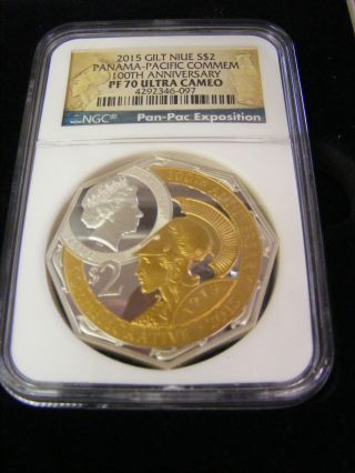 2015 Gilt Niue $2 - 2oz Silver Panama Pacific 100th Anniversary Commemorative Coin photo
