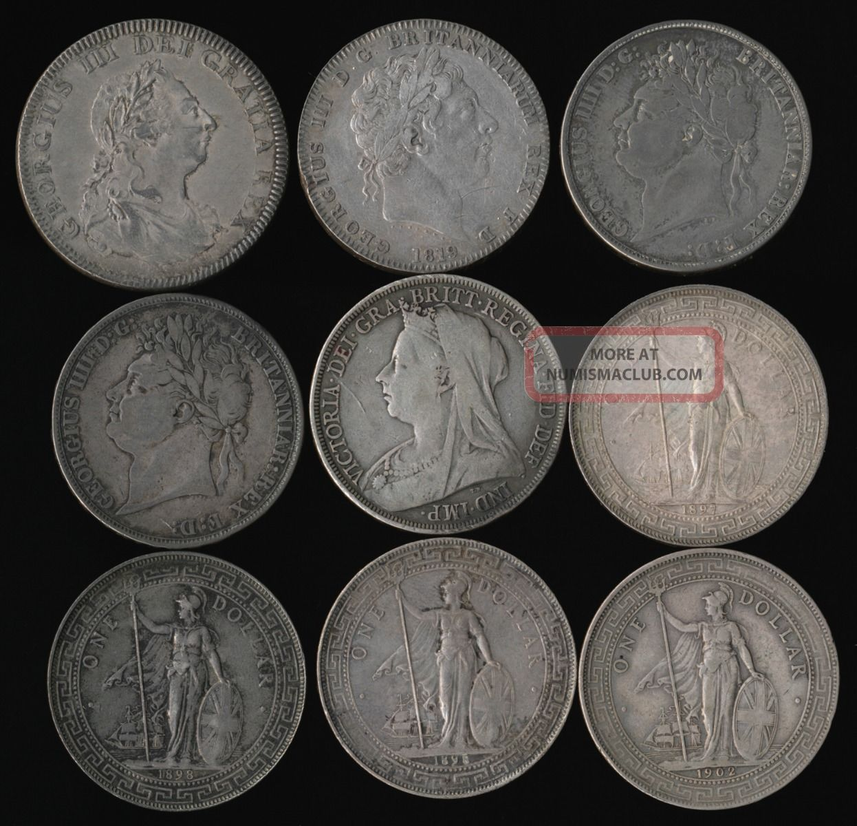 1804 1902 Nine British Silver Crowns Trade Dollars Bank Dollar