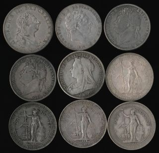 (1804 - 1902) Nine British Silver Crowns,  Trade Dollars & Bank Dollar photo