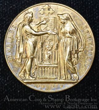 France 1881 29mm Silver Marital Bond Gilt Medal Marriage Token Scarce photo