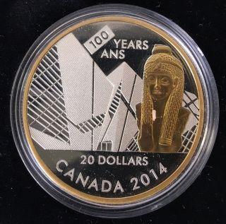 Canada 2014 100th Anniversary Royal Ontario Museum Silver $20 Proof W/ Box photo