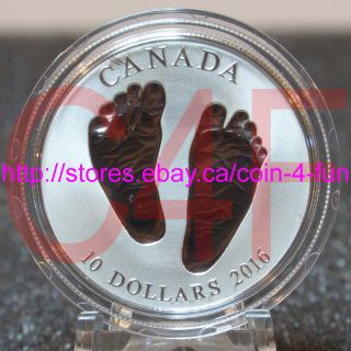 Canada Born In 2016 Welcome To The World $10 1/2 Oz Fine Silver Coin - Baby Feet photo