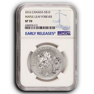 2016 Maple Leaves Ngc Sp70 Early Releases Canada 1/2 Oz Silver Coin photo