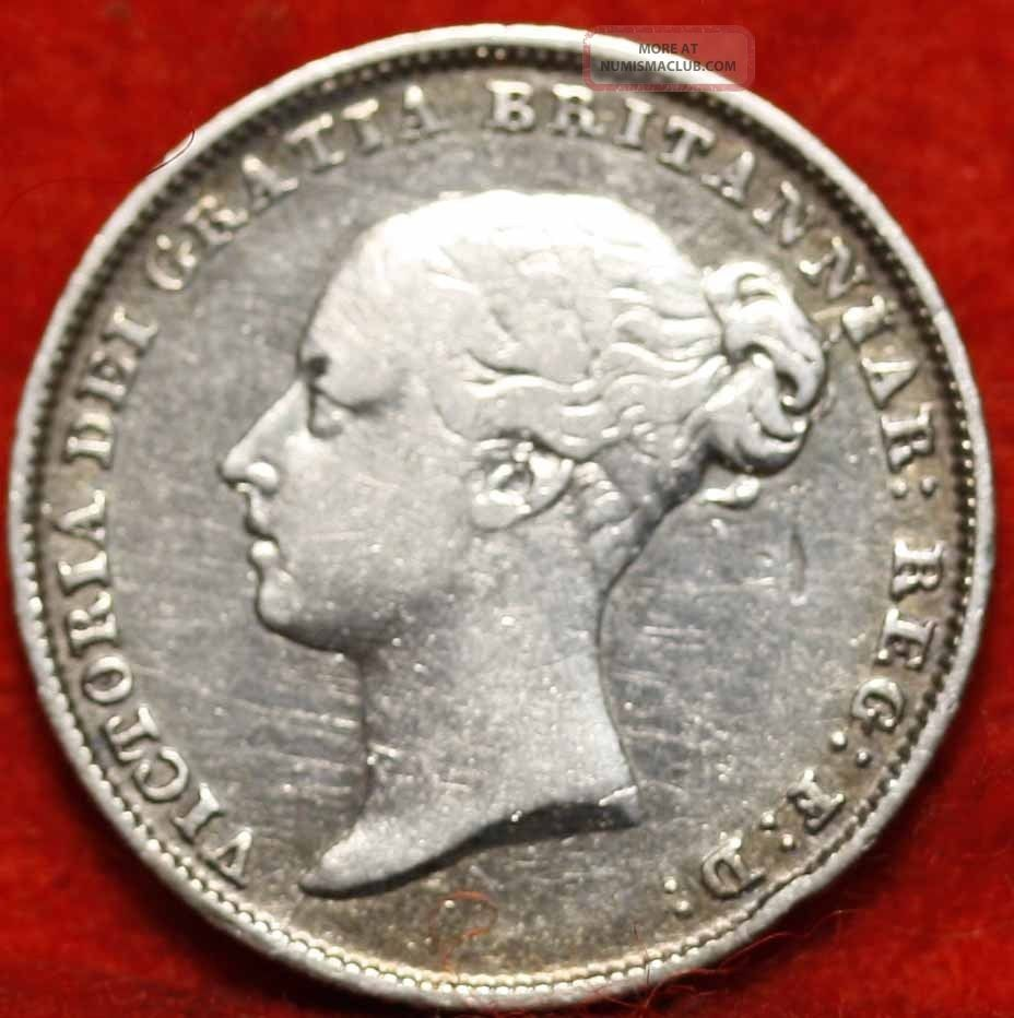1846 Great Britain 6 Pence Silver Foreign Coin S/h Sixpence photo
