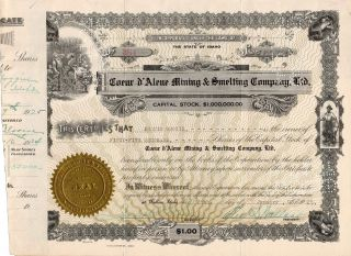 Stock Certificate: Coeur D ' Alene Mining & Smelting Co.  Ltd,  W/ Revenue Stamps photo