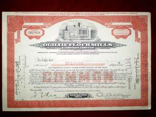 Canada Ogilvie Flour Mills Stock Certificate 1964 Vg photo