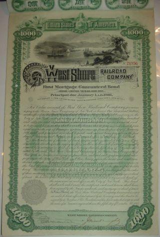 1885 West Shore Railroad Company Bond Stock Certificate photo