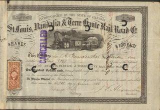 St Louis Vandalia Terre Haute Rail Road 1868 A.  Frankenthal & Bros,  C.  D Hoiles photo