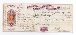 1868 Atlantic And Great Western Railway Company Check photo