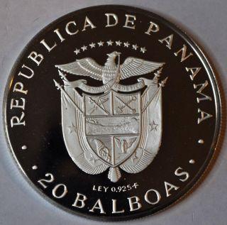 1975 Panama Proof 5 Oz Silver 20 Balboa Coin photo