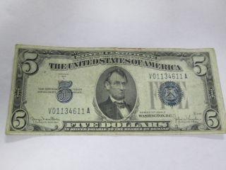 1934d $5 Dollar Bill Silver Certificate Blue Seal Bank Note photo