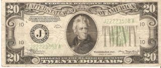 1934 $20 Federal Reserve Note - (j) Bank Of Kansas City S/n Starts With 4 Deuces photo