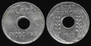 Double Die 1943 French Indo - China Cent photo