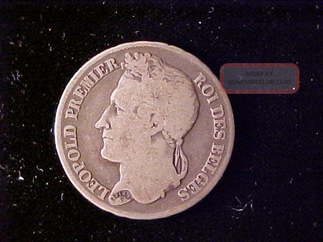 Belgium Leopold I,  2 Francs 1835,  Scarce Type Coin Europe photo