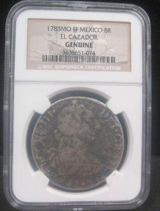 1783mo Ff Mexico 8r El Cazador - Ngc Shipwreck Coin - 074 photo