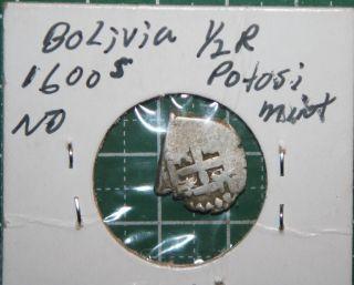 Bolivia Potosi Silver 1/2 Real 1600s Carolus Ii Cob photo
