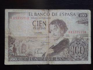 Spain 100 Pesetas 1965,  Circulated Banknote photo