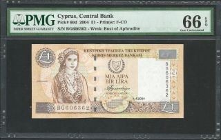Cyprus 2004 P - 60d Pmg Gem Unc 66 Epq 1 Pound photo