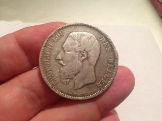 1868 Belgium Leopold Ii 5 Francs photo