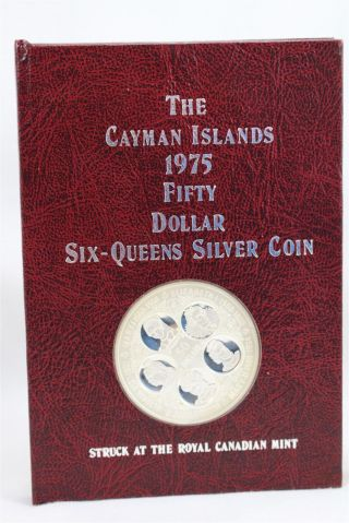 1975 Cayman Islands Fifty Dollar Six - Queens Silver Coin Pure Ag Weight 1.  93 Oz photo