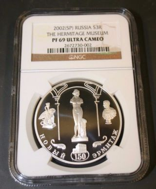 Russia 2002 3 Rouble Hermitage 3 Rouble Ngc Pf 69 Uc photo